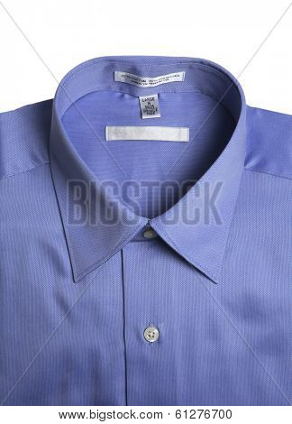 Blue men's button down shirt on white background