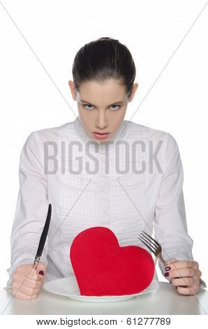 Femme Fatale Eats Heart Knife And Fork
