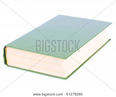 Thick Green Book Lying Isolated