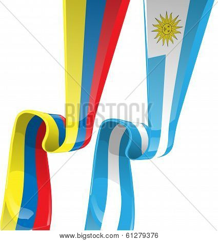 Uruguayan & Colombian Ribbon Flag