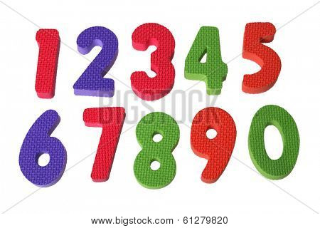 Foam numbers 1 through 10