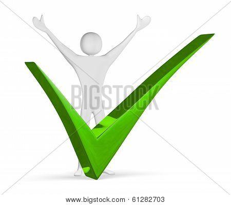 Triumphant 3D Man Near Green Tick