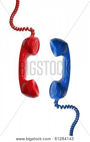 Red and Blue telephone recievers