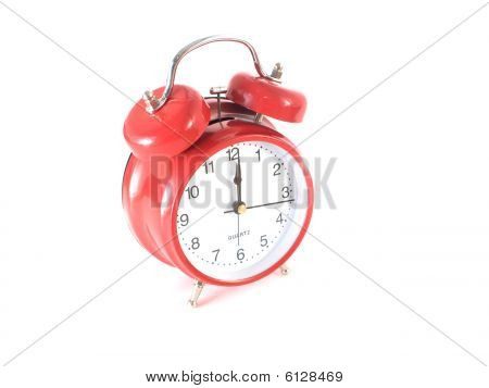 Big red vintage alarm clock
