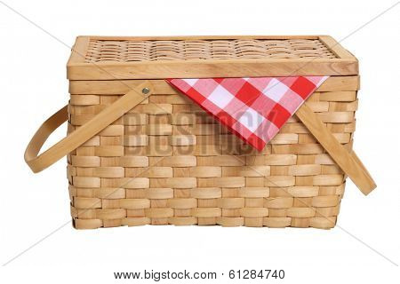 Picnic basket cut out on white background