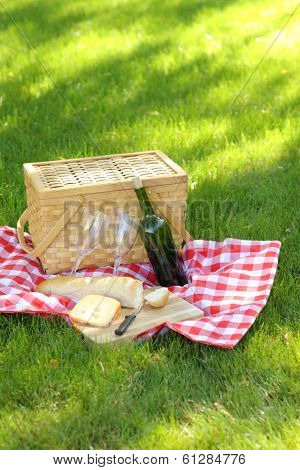 Outdoor picnic, with basket, wine, bread and cheese
