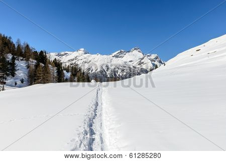 Path In Snow And Mountains In Background, Cuneaz, Ayas Valley (italy)