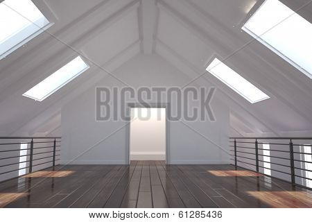 Empty white room with skylights