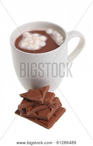 Mug of hot cocoa with chocolate cutout, isolated on white background