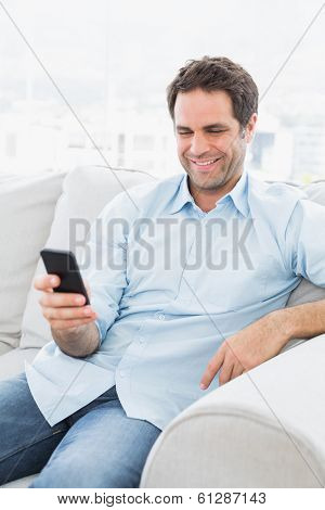 Cheerful man sitting on the couch sending a text with smartphone at home in the living room