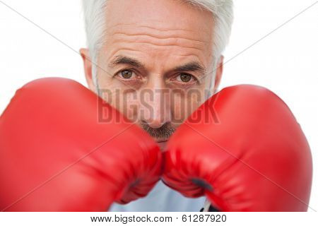 Close-up portrait of a determined senior boxer over white backgroundClose-up portrait of a determined senior boxer over white background
