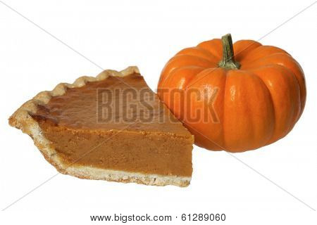 pumpkin pie with pumpkin on white