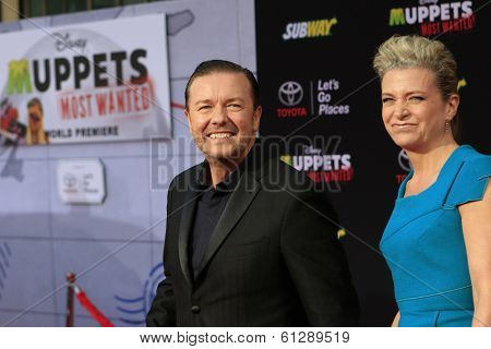 LOS ANGELES - MAR 11:  Ricky Gervais, Jane Fallon at the premiere of Disney's 'Muppets Most Wanted' at the El Capitan Theater on March 11, 2014 in Los Angeles, California