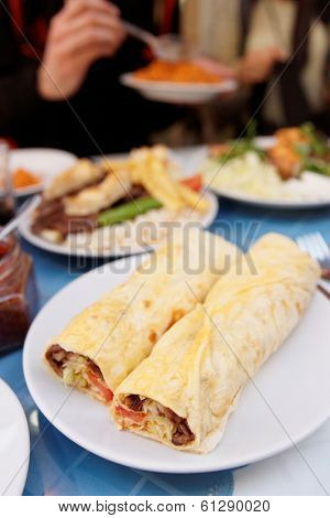 Doner kebab dish on plate, shallow focus