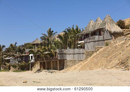 Huts on Coast of Mancora, Peru