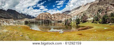 Panorama of Lohan Tso - Buddhist sacred holy lake in Himalayas.  Nubra Valley, Ladakh, India