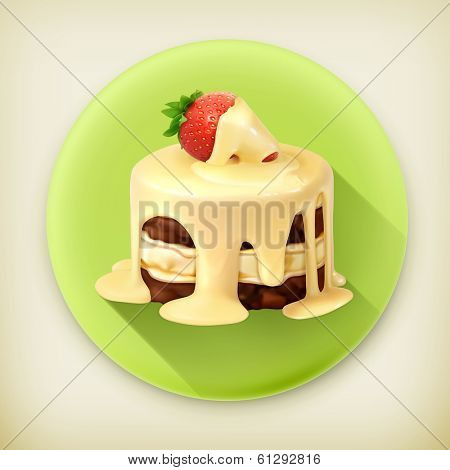 Cake with strawberry, long shadow vector icon