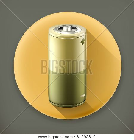 Battery, long shadow vector icon