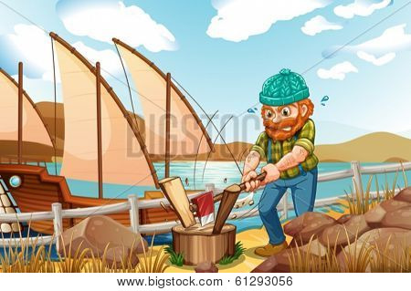 Illustration of a woodman chopping the woods near the river