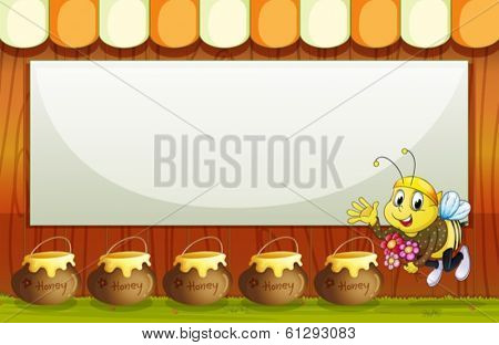 Illustration of an empty template with a bee