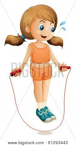 Illustration of a young lady exercising with a rope on a white background