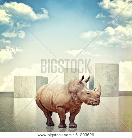 3d image of huge concrete block and rhino