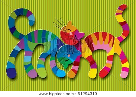 Vector image of two paper multicolored cats in love against a light green background