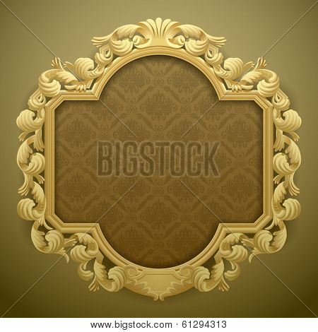 Vector isolated image of the baroque carved beige frame against a brown-green background