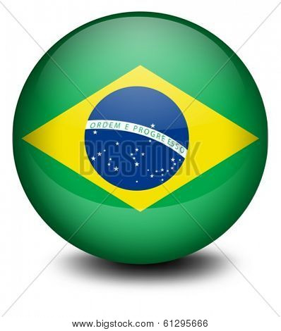 Illustration of a ball with the flag of Brazil on a white background