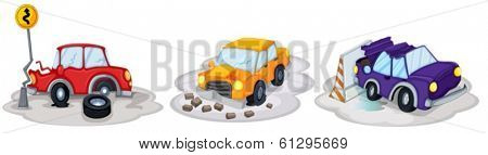 Illustration of the car accidents on a white background
