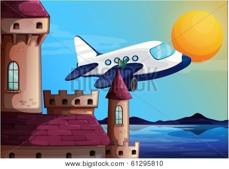 Illustration of an airplane near the castle on a white background