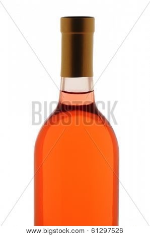 Closeup of a blush wine bottle isolated over white. Top half of bottle only.