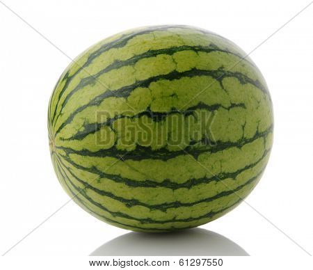 Closeup of a whole mini seedless watermelon on a white surface with reflection.
