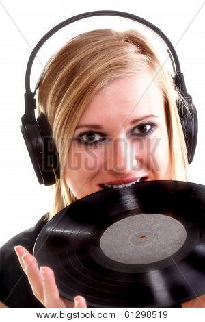 Woman With Headphones Listening To Music Isolated White Background