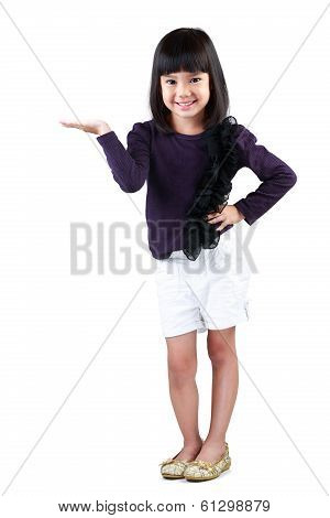 Little asian girl with empty hand Isolated over white