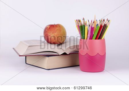 Colored Pencils, Books And Apple