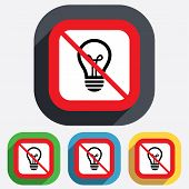 No Light lamp sign icon. Idea symbol.