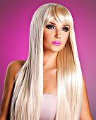 picture of barbie  - Portrait of a beautiful adult woman with long white straight hairs - JPG