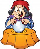 image of witch ball  - Gypsy woman looking at a crystal ball - JPG