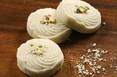 stock photo of bengali  - Sandesh is traditional bengali sweet dish prepared with cottage cheese - JPG