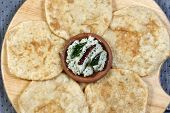 foto of urad  - Urad dal puri Indian flatbread which is made with wheat flour served as breakfast dish - JPG