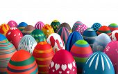 pic of easter decoration  - Colorful standing Easter eggs isolated white background 3d illustration - JPG