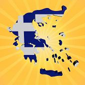 Greece map flag on sunburst illustration