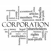 picture of corps  - Corporation Word Cloud Concept in black and white with great terms such as shareholders legal entity and more - JPG