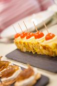 Spanish omelet tapas and cheese with onion pinchos