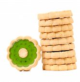 Stack of biscuits with kiwi jam.