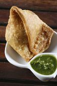 stock photo of bengal-gram  - Samosa  is an Indain fried or baked pastry with a savory filling - JPG