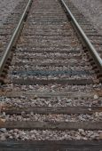 Weathered old solitary railroad tracks with rocks, rails and ties poster