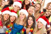 stock photo of christmas party  - Happy funny people - JPG