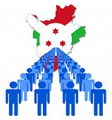 Lines of people with Burundi map flag vector illustration
